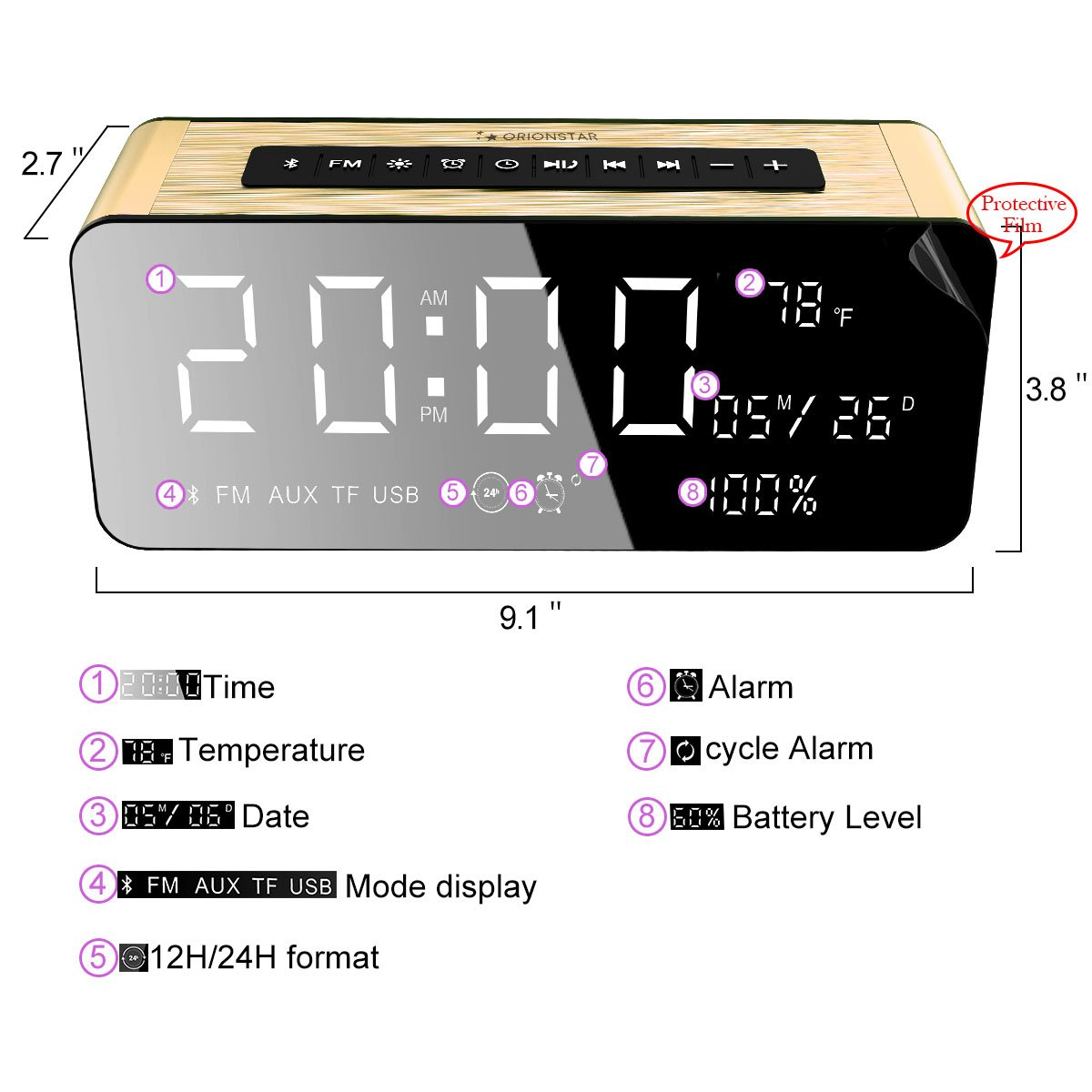 290d790433b Amazon.com  Orionstar Wireless Alarm Clock Radio Speaker with HD Sound Big Digital  Screen widely Compatible with Android PC4 Aux MicroSD TF USB Port for ...
