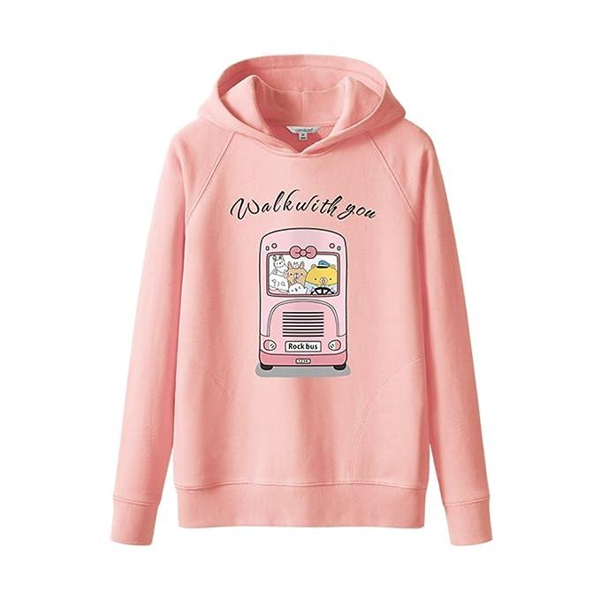 Blusa con capucha de la señora 100% algodón manga larga sudaderas de dibujos animados-rosa S: Amazon.es: Ropa y accesorios
