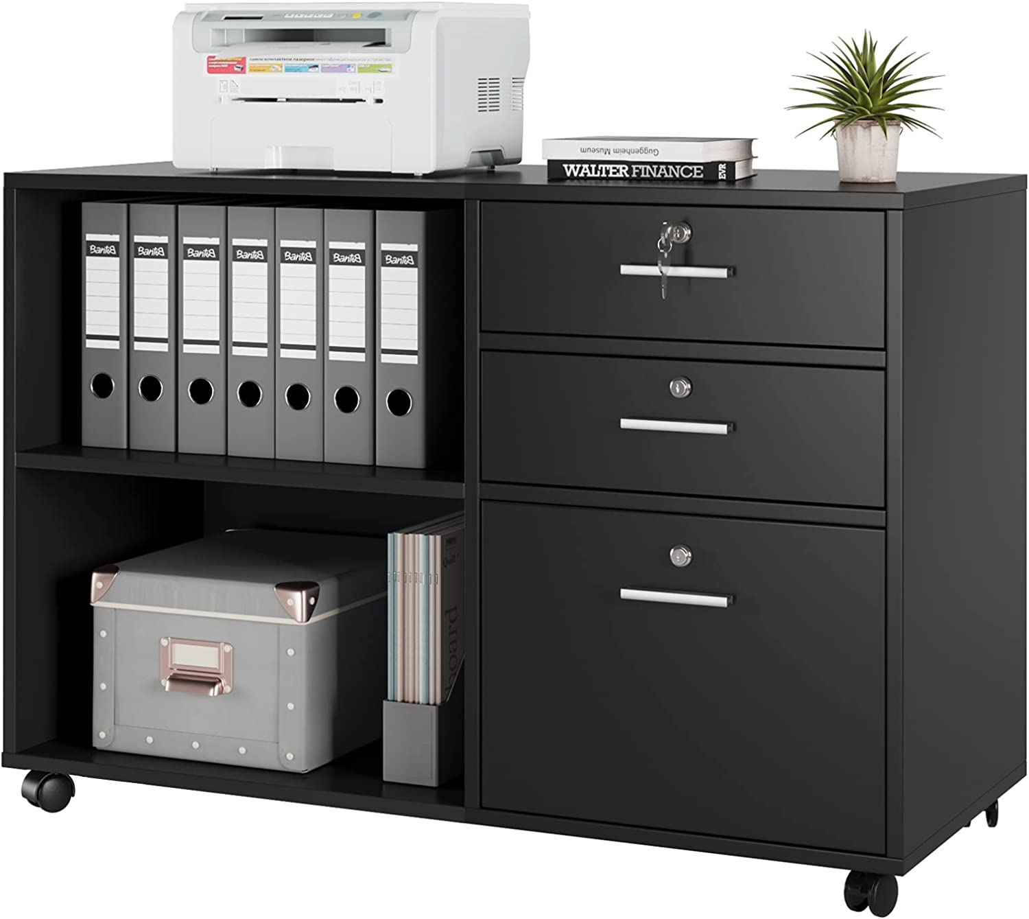 Kealive 3 Drawers File Cabinet, Wood Mobile Lateral Filing Cabinet with Lock, Modern Printer Stand with Open Storage Shelves for Home Office, Lockable Casters, Black