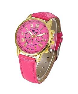 Auwer Watches, 2019 Black Geneva Fashion Women Diamond Analog Leather Quartz Wrist Watch Watches (Hot Pink)