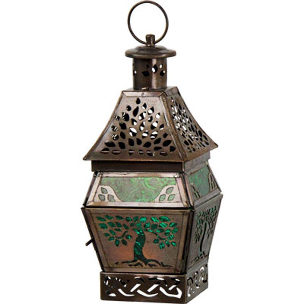 Glass & Metal Lantern Tree of Life Green (05225) B01CUZ9WXI 13300