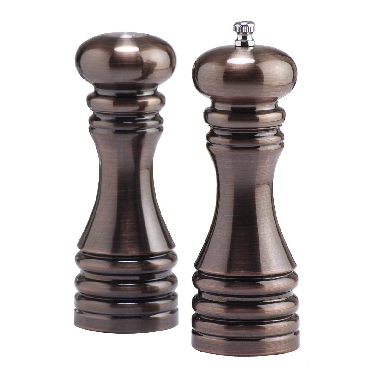 Chef Specialties 7 Inch Burnished Copper Pepper Mill and Salt Shaker Gift Set 90076