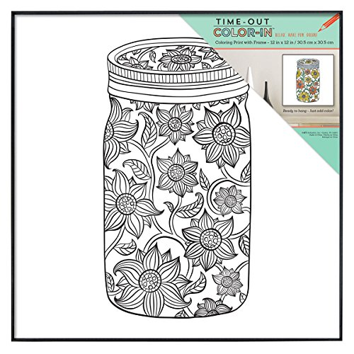 MCS Time-Out Color-in 12x12 Inch Framed Adult Coloring Page with Sunflower Mason Jar Design -