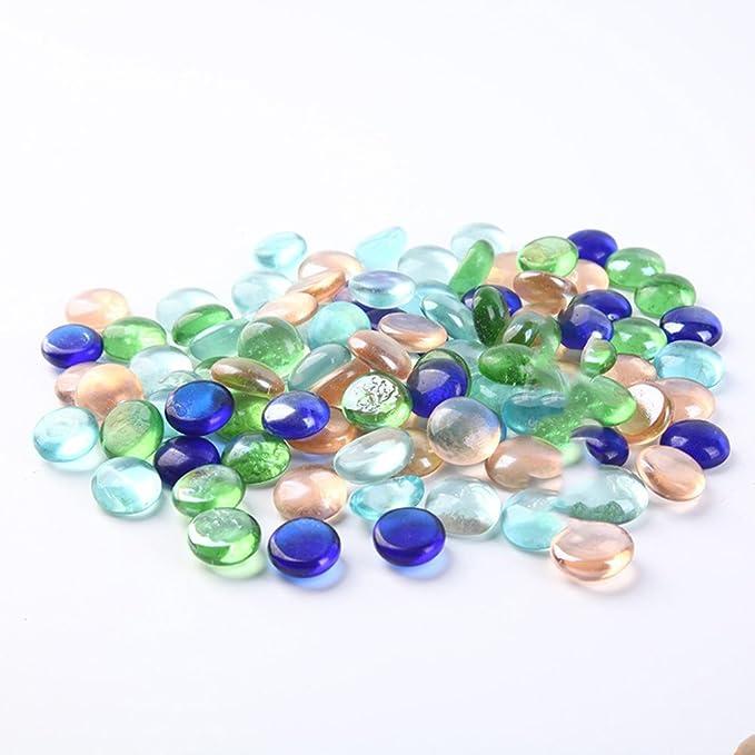 HUPLUE piedras de cristal coloridas decorativas de cristal Rocks Gravel Oranmental cristal cuentas pecera tanque acuario accesorios: Amazon.es: Hogar