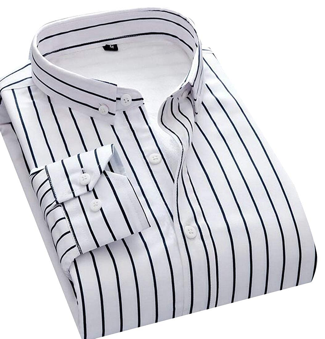 YYG Mens Long Sleeve Slim Fit Casual Fleece Stripe Dress Work Shirt
