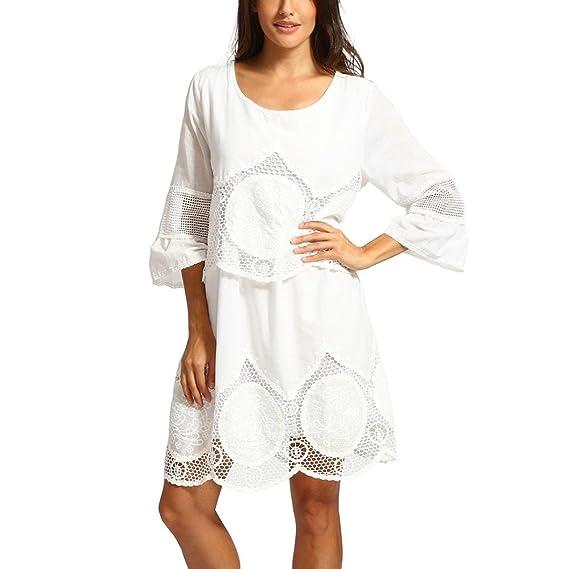 68aa8683134 Malloom® Mode Plus Größe Weiß Spitze Stickerei ausverkauft Rundhals Boho  Strand Kleid S-6XL