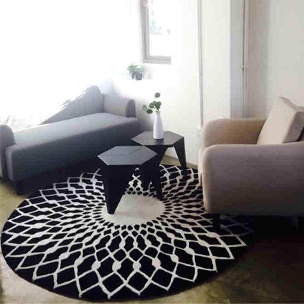 GCCI scandinave Mode Noir et Bai Circulaire Tapis Table Basse de Salon Tapis Chambre /à Coucher /Étude Moquette