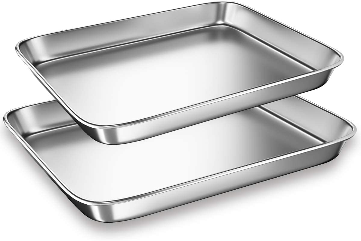 Cookie Sheets Pans for Toaster Oven,Small Stainless Steel Baking Sheet Tray, BYkooc Dishwasher Safe Oven Pan, Anti-rust, Sturdy & Heavy, 9 x 7 x 1 & 10 x 8 x 1 inch, 2 pcs/set