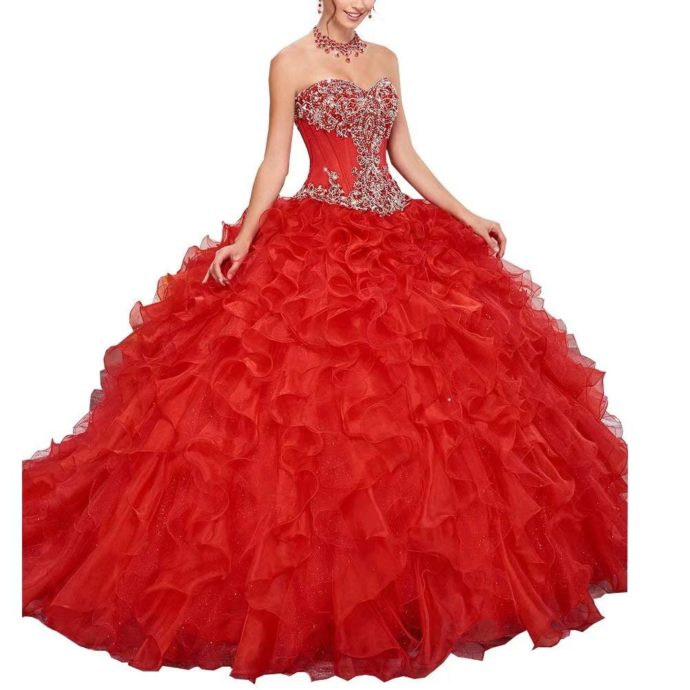 color 1 Unions Women Strapless Sweetheart Ball Gown Dress Crystal Beaded Prom Quinceanera Dresses