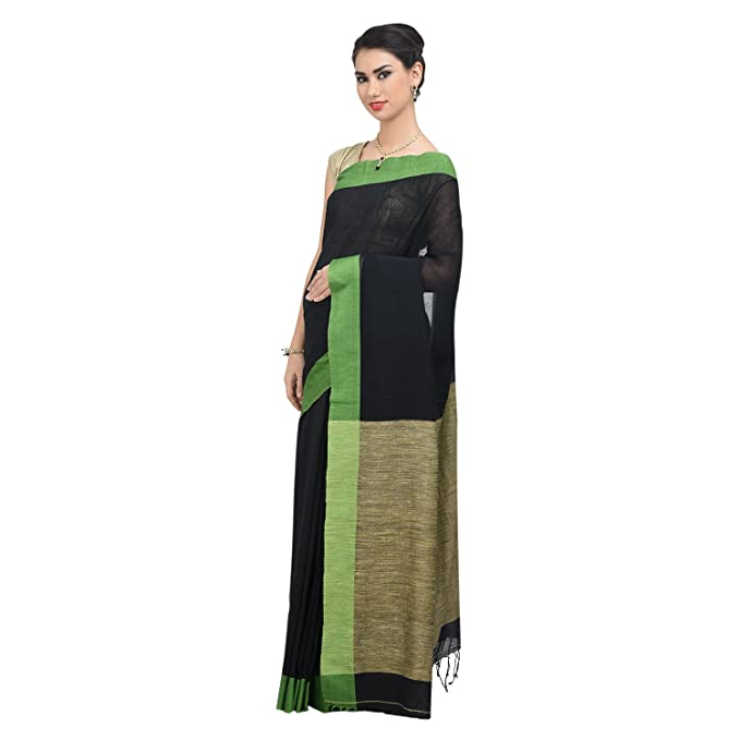 12ce8970994a78 The Weave Traveller Handloom Khadi Ghicha Pallu Women Saree With Blouse  (Black