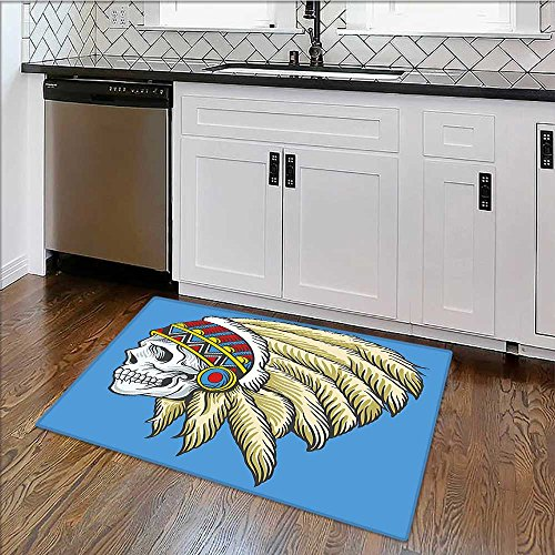 - Machine-Washable Large Bathroom Mat Tribal Native Dead Skull with s Folk Navajo Violet Blue Cream Pearl Non-To x ic Non-Slip Reversible Waterproof W35