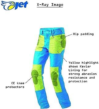 , Negro M 48 Corto//Cintura 32 Longitud 30 JET Pantalon Moto Hombre Jeans Kevlar Aramid con Armadura