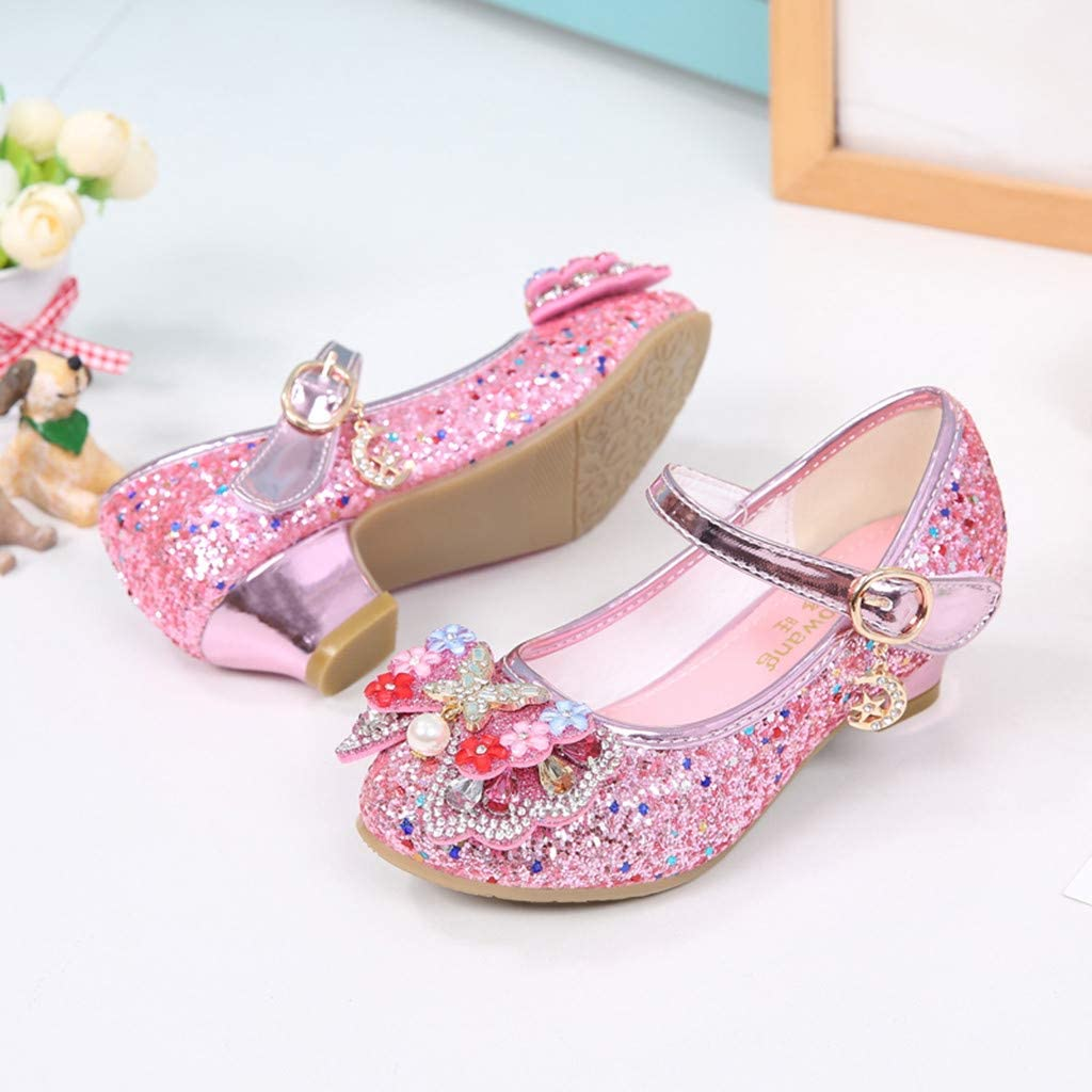 Children Girls Princess Shoes Sandals for 5-12 Years Old Teen Fashion Pearl Butterfly Knot Crystal Shoes
