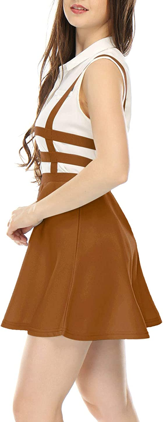 Allegra K Mujer Falda con Tiras de Cintura El/ástica Corte A Line