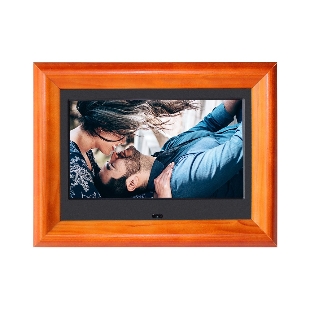 Digital Picture Frame SZSUPER 7 inch Digital Photo Frame with Widescreen LCD Calendar//Clock Function Video Player with Remote Control Wood Electric Digital Frame Black