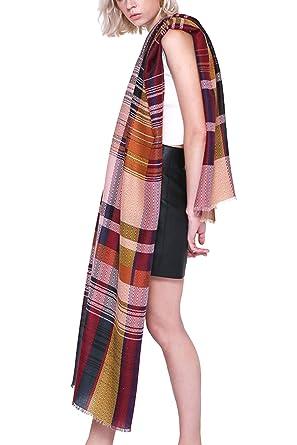 Chal de las mujeres de gran tamaño gran tela escocesa raya abrigo Crochet Scraf Amarillo F: Amazon.es: Ropa y accesorios