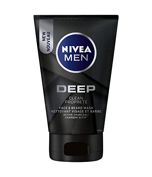 6ee708daa649f9 NIVEA MEN DEEP Face & Beard Wash With Active Charcoal, 100 mL: Amazon.ca:  Beauty