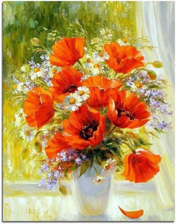 XIXISA Bodegón Flores Cuadro Adulto Pintura por Números Kits Aceite Acrílico Pintura para Colorear Digital por Números para Sala de Arte de Pared Sin Marco