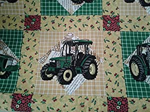 """John Deere patch "" Lined Placemat, Bowl Mitt, Hot Pad, Lined Table Runner (Hot Pad 14""x14"")"