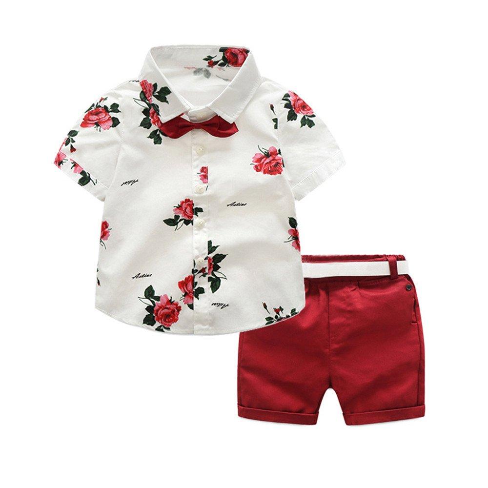 Amazon Tem Doger Toddler Baby Boys 2pcs Summer Flower Print T