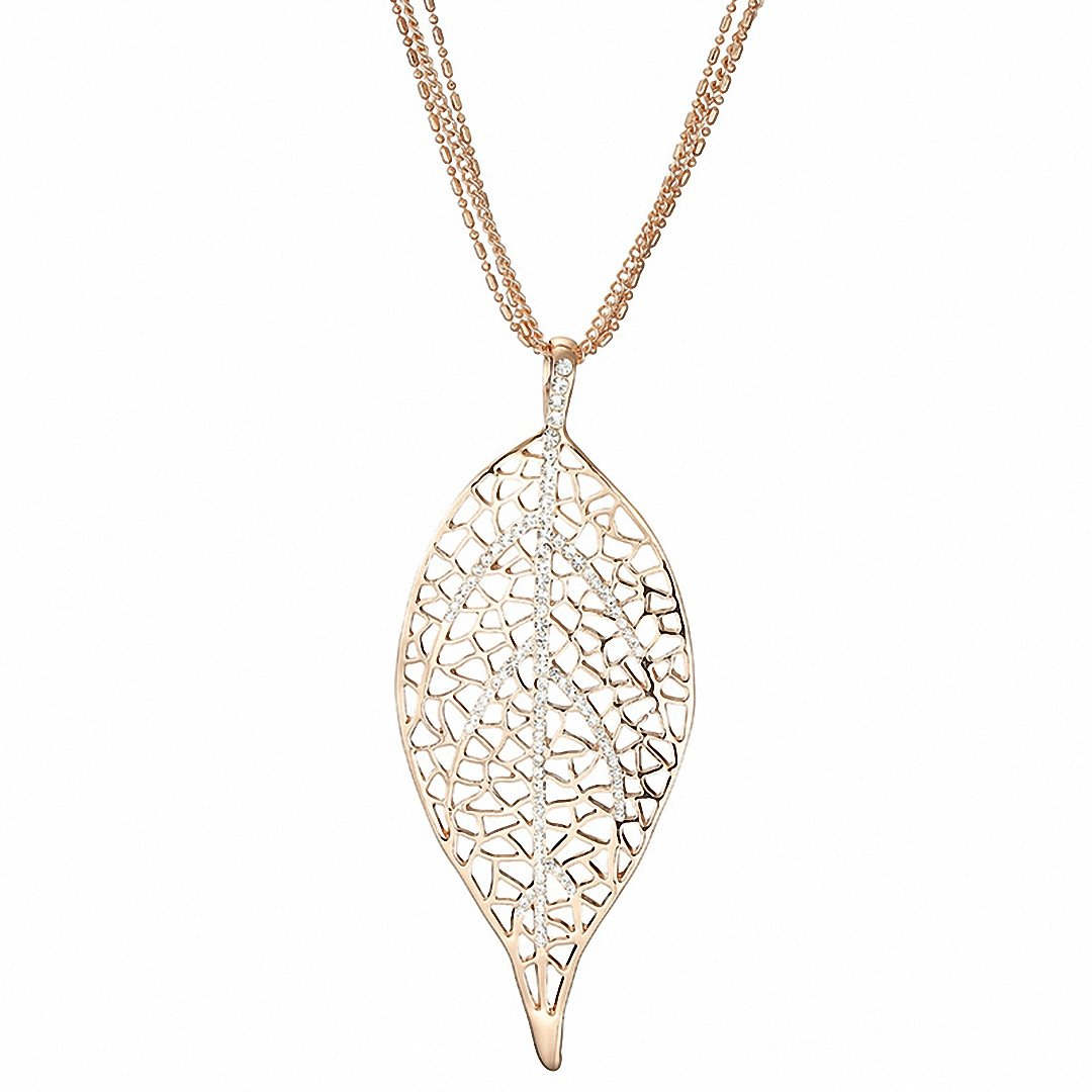 Kalapure World Unique Chic Real Natural Filigree Leaf Pendant Statement Long Chain Necklace