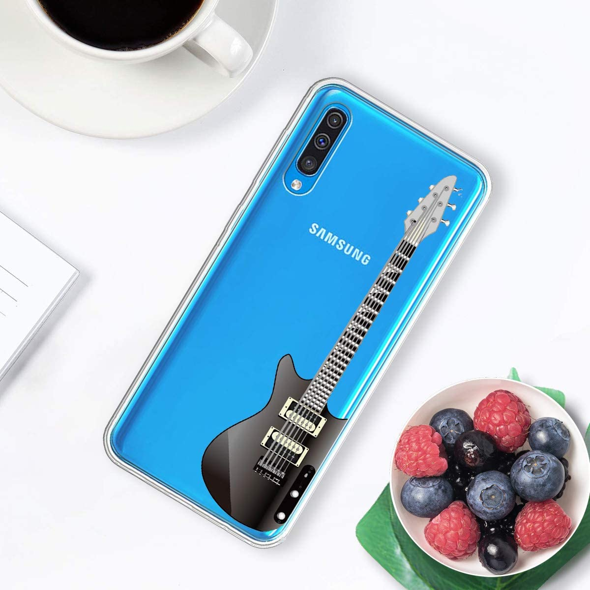 Caler Cover Compatibile con Samsung Galaxy S7 Custodia Trasparente con Disegni TPU Morbida Bumper Protettiva Case con Motivo Carino in TPU Silicone Antiurto 3D Vogue Ultra Chic chitarra