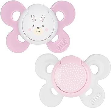Chicco Physio Comfort - Pack de 2 chupetes de silicona 0-6 m, color rosa (diseños surtidos): Amazon.es: Bebé