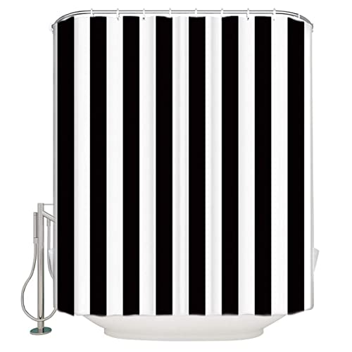 Vandarllin Extra Long Shower Curtain Fabric Curtains Black And White Striped 72x84 Inch