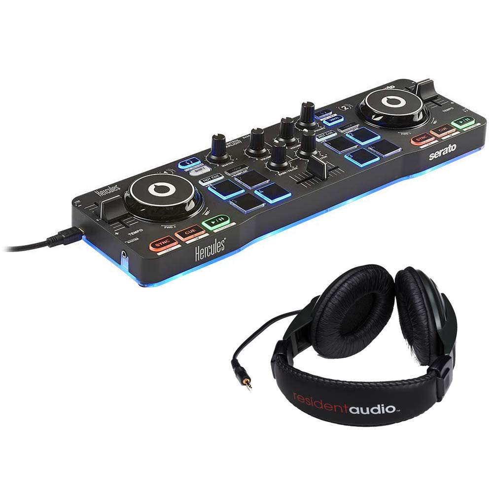 Hercules DJControl Starlight with LED Light & Resident Audio R100 Stereo Headphones Bundle by Hercules (Image #1)