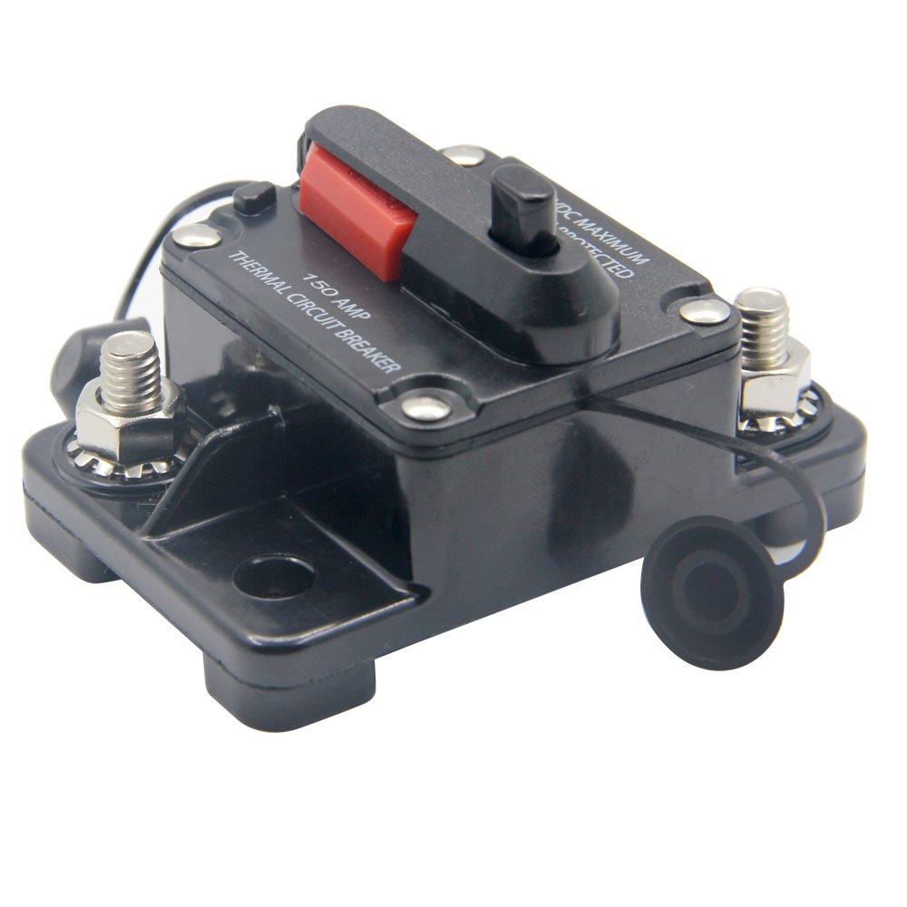 RKURCK 12V 42VDC 100A Manueller Reset-Schutzschalter Sicherungshalter f/ür Car Automotive Marine Audio 100Amp