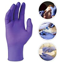 LAYOPO 100Pcs Disposable Nitrile Exam Gloves, Powder Free, Latex Rubber Free, Disposable Gloves - Non Sterile, Food Safe, Medical Grade, High Elastic(Purple S)