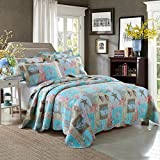LELVA Ocean Bedding Set Seashells Beach Theme Patchwork Quilt Set Comforter Set (2)