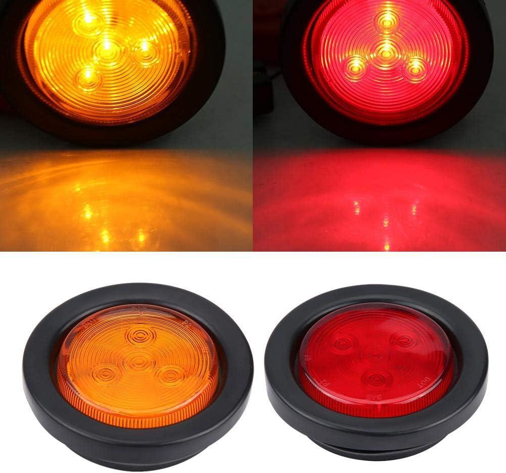 Luces LED delanteras redondas de 4 piezas para autom/óvil Luces indicadoras laterales luces de advertencia delanteras//traseras//laterales /ámbar y rojas para cami/ón de remolque