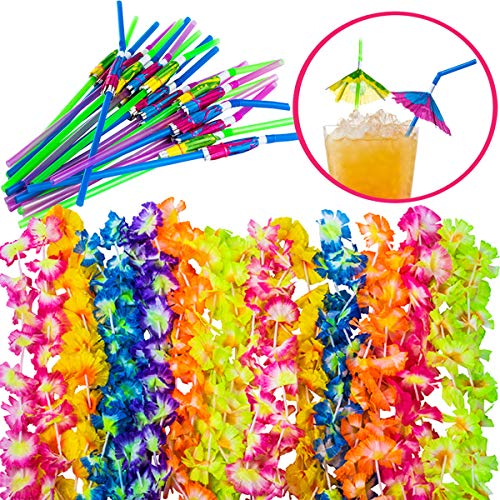 Luau Party Supplies - Hawaiian Party Favors - 36 Pc. - Lei Necklaces and Umbrella Straws by -