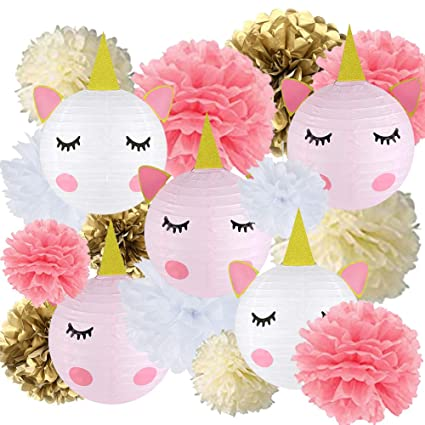 Prime 18 Pcs Unicorn Birthday Party Decorations 12Pcs Tissue Paper Pom Poms 6Pcs Unicorn Paper Lanterns With Glitter Horn Ears Eyelashes For Unicorn Baby Home Interior And Landscaping Ologienasavecom