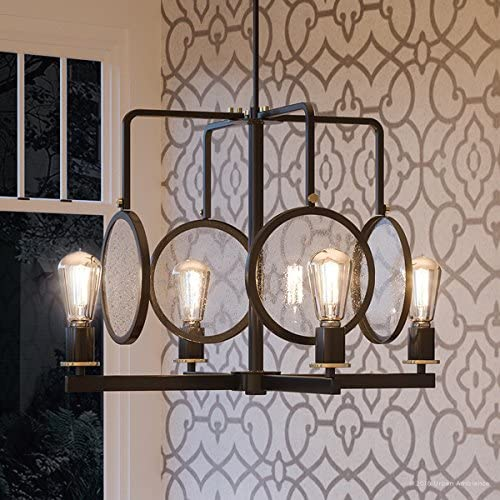 Luxury Art Deco Chandelier, Large Size 18.25 H x 25.375 W, with Bohemian Style Elements, Olde Bronze Finish and Clear Seeded Shade, UHP2560 from The Rennes Collection by Urban Ambiance