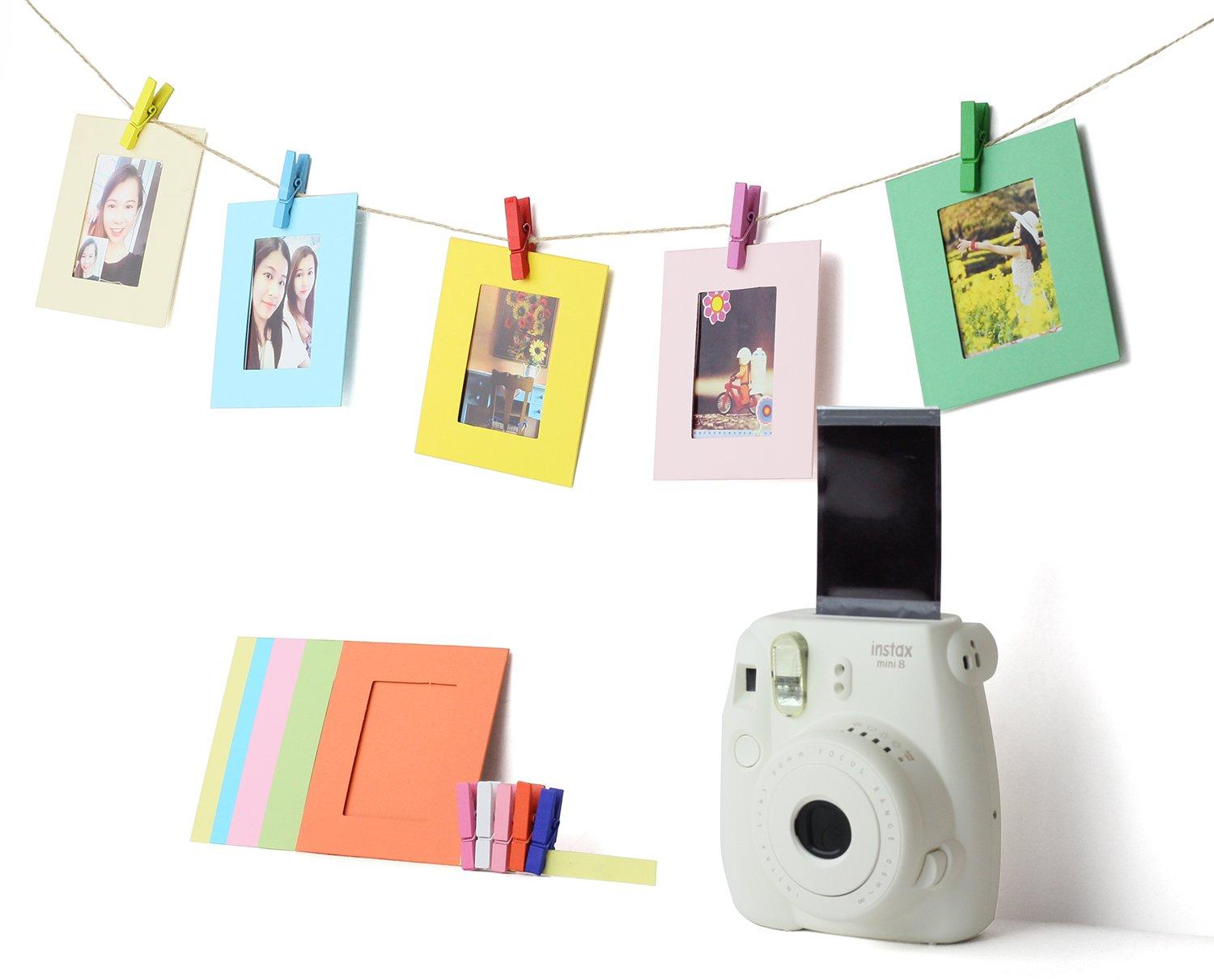 5 in 1 Giant Colorful Bundle Kit Accessories for Fujifilm Instax Mini 9/8 Camera - Assorted Accessory Pack of 120 Sticker Frames + 10 Plastic Desk Frames + 20 Hanging Frames + MORE by Deals Number One (Image #3)