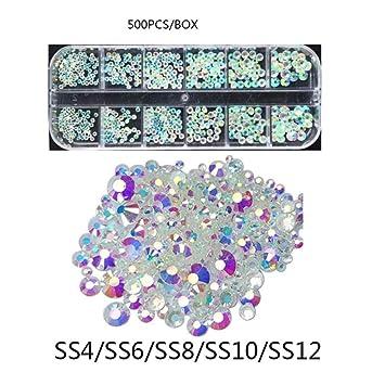 9a77d5b837 Amazon.com: 500 PCS/Box Aurora Rhinestone Flat Back Glass Chameleon ...