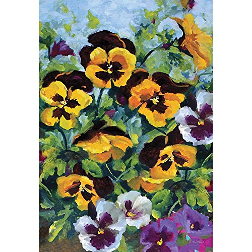 Pansies Gold Color and Violet Garden Cluster 44 x 30 Rectangular Screenprint Large House Flag ()