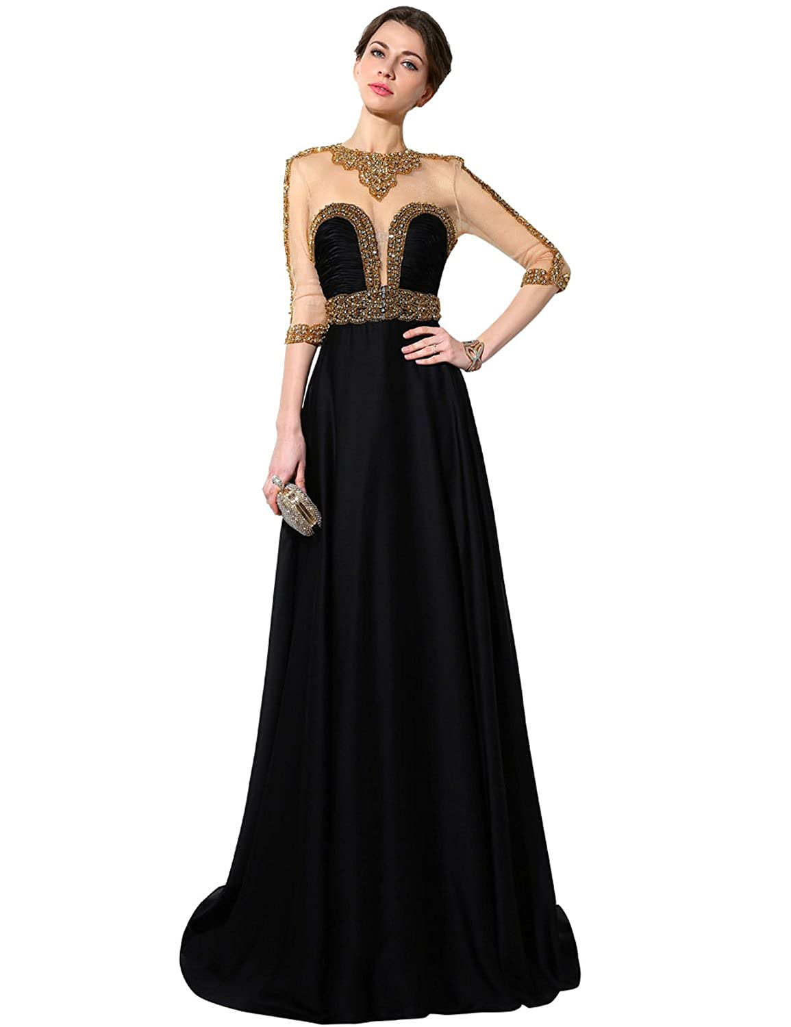 016black Sarahbridal Womens Lace Prom Dresses Formal Evening Gown with Half Sleeve SD328