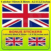 "BRITISH UNION JACK Flag United Kingdom UK Great Britain 4,3"" (110mm) Vinyl Bumper Sticker, Decal x1 +2 BONUS"