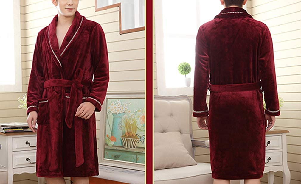 femaroly Mens Thick Flannel Coral Fleece Knee Length Bathrobe Robe Soft Nightgown