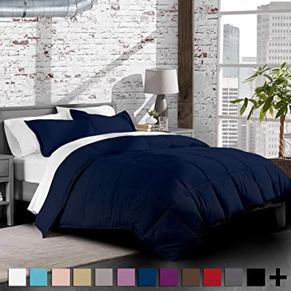 Amazon Com Dark Blue Premium Xl Twin Comforter Set Twin Extra