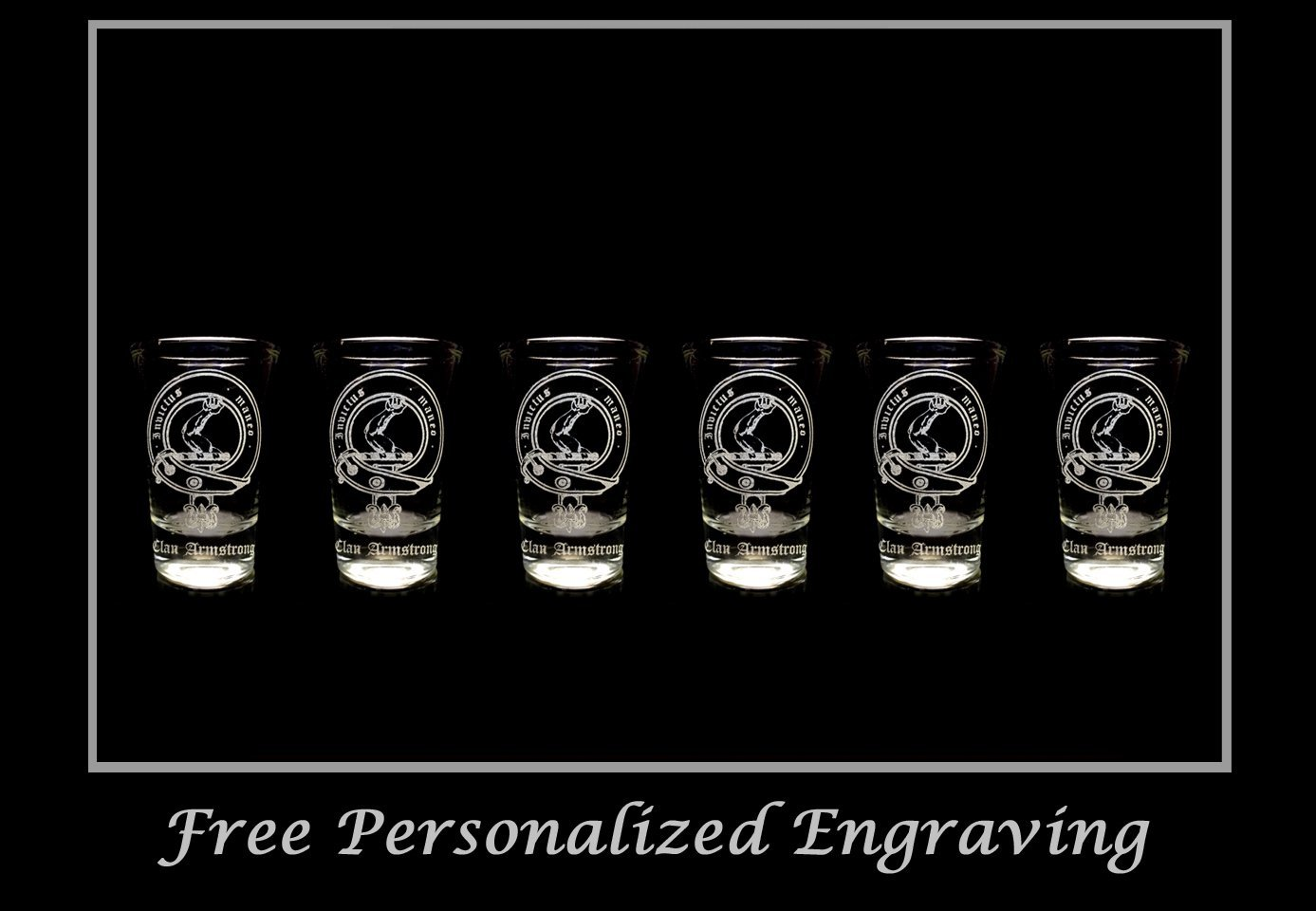 Armstrong Scottish Family Clan Crest Shot Glass, Set of 6 - Free Personalized Engraving, Celtic Decor, Scottish Glass