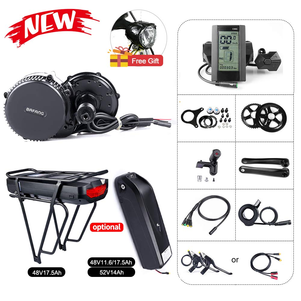 BAFANG BBS02B 48V 750W Mid Drive Electric Bike Motor Ebike Conversion Kit Mid Motor for Mountain Bike Road Bike with Optional 48V 11.6Ah 17.5Ah and 52V 14Ah Battery