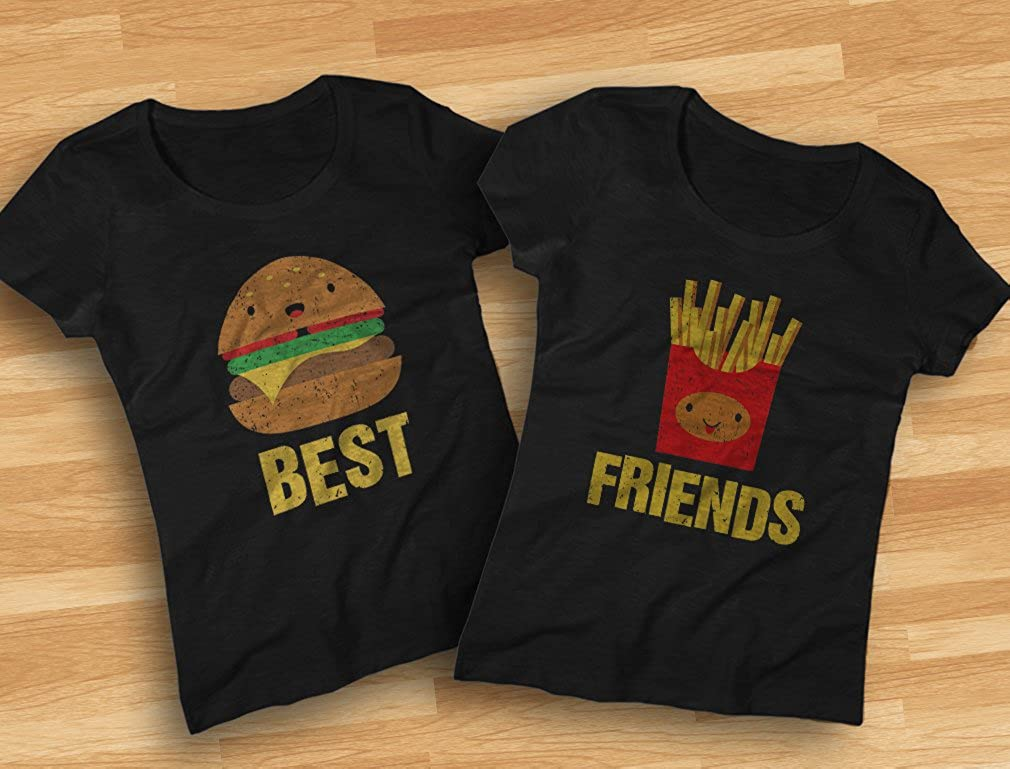 Details about  /Hamburger And Fries BFF Matching Shirts Womens Peach Graphic Tshirt