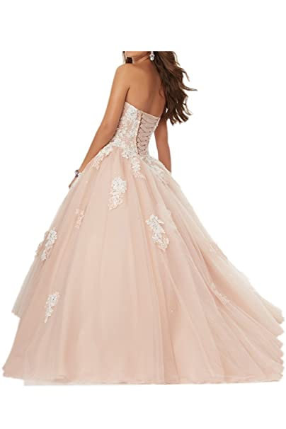 Milano Bride Anmutig Rosa Weiss Spitze Applikation Abendkleider Promkleider  Quincenera Ballkleider Lang: Amazon.de: Bekleidung