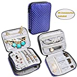 Teamoy Double Layer Jewelry Organizer Case, Travel Carry Bag for Earrings, Rings, Necklaces, Chains, Compact and All in One Place, Easy to Carry, Purple Dots