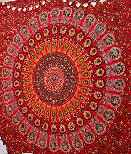 Red Peacock Mandala Tapestry Dorm Decor Hippie Wall Hanging Tapestries Bedding