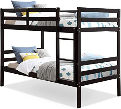 Amazon Com Costzon Twin Bunk Bed Solid Hardwood Twin Over Twin Bed For Kids With Ladder And Safety Rail Children Wooden Bunk Beds For Bedroom Dorm Flat W Slats Bedroom Furniture Espresso Furniture